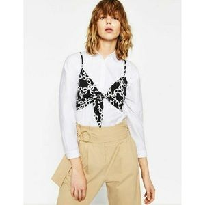 NWT Zara Chain Print Knot Front Crop Top Black